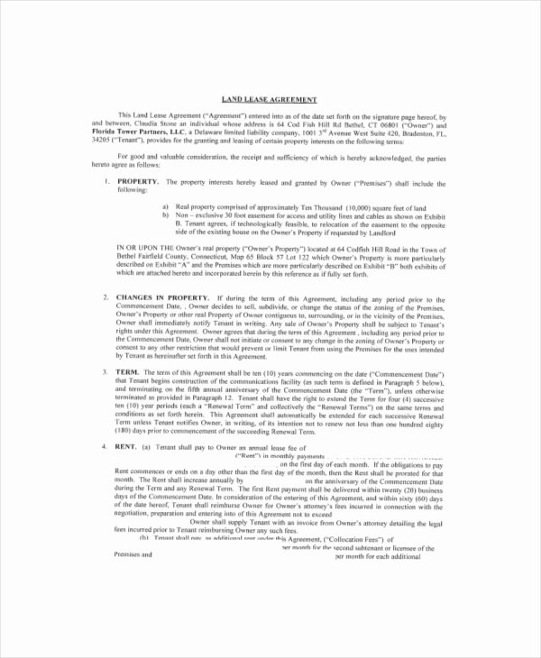 Land Lease Agreement Template Free Elegant Land Lease Template 7 Free Word Pdf Documents Download