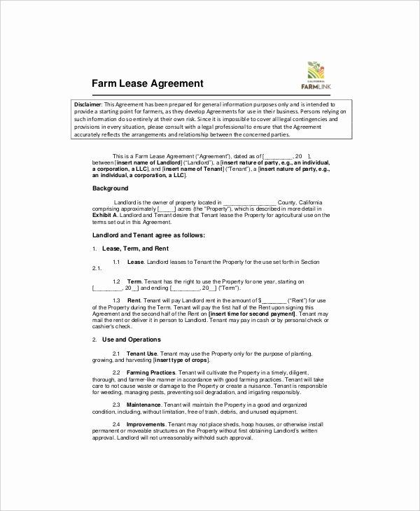 Land Lease Agreement Template Free Luxury 7 Land Lease Templates Free Word Pdf format