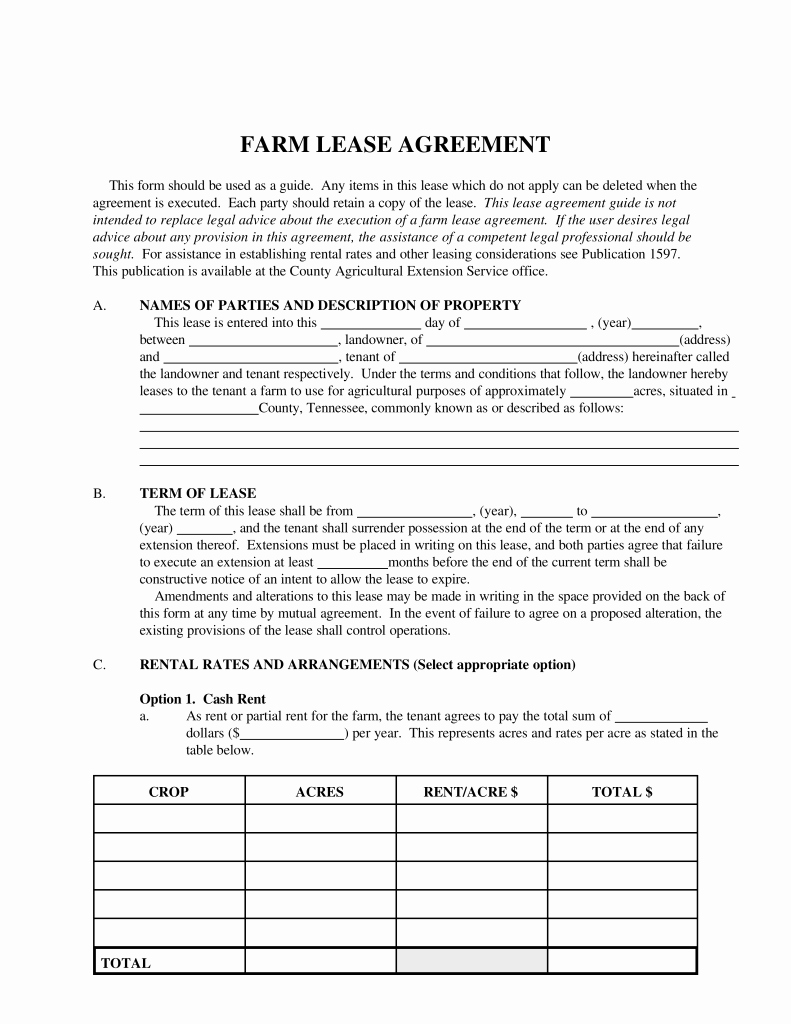 Land Lease Agreement Template Free New Free Tennessee Farm Lease Agreement Template Pdf