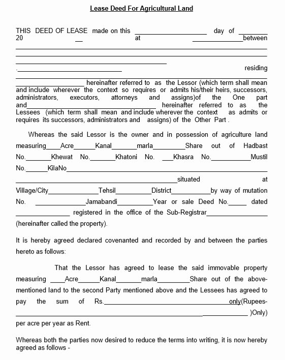 Land Lease Agreement Template Inspirational 12 Free Sample Professional Farm Land Lease Agreement
