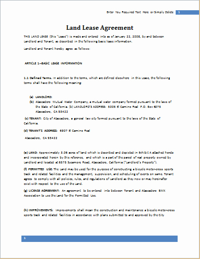 Land Lease Agreement Template Luxury Land Lease Agreement Template for Word