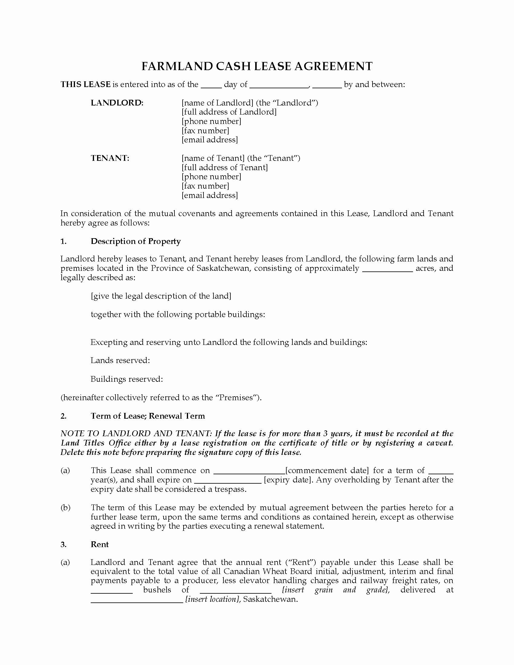 Land Lease Agreement Template Luxury Saskatchewan Farm Land Cash Lease Agreement