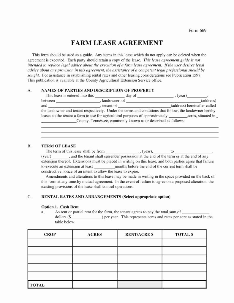 Land Lease Agreement Template New 8 Farm Lease Agreement Templates Pdf Word