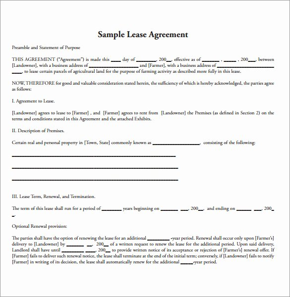 Land Lease Agreement Template New Sample Land Lease Agreement 16 Free Documents In Pdf Word