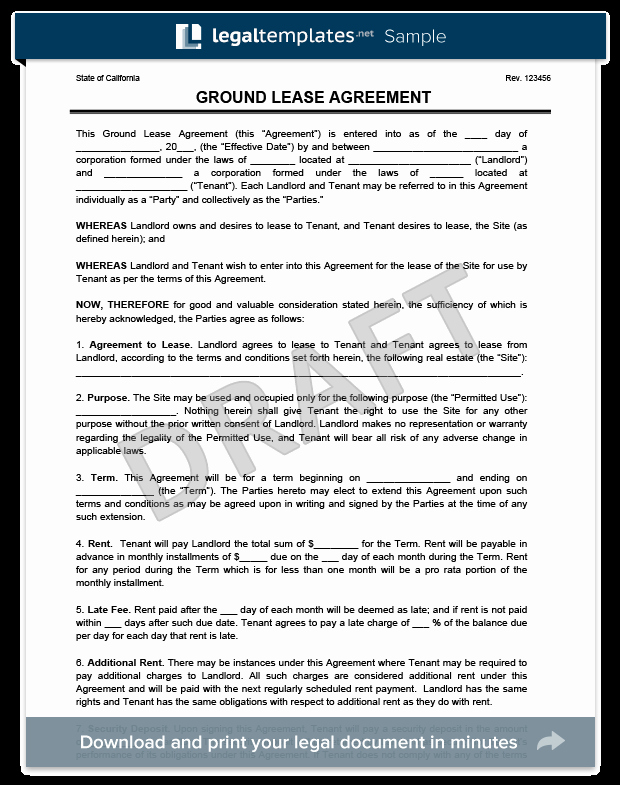 Land Lease Agreement Templates Awesome Ground Lease Agreement Print & Download