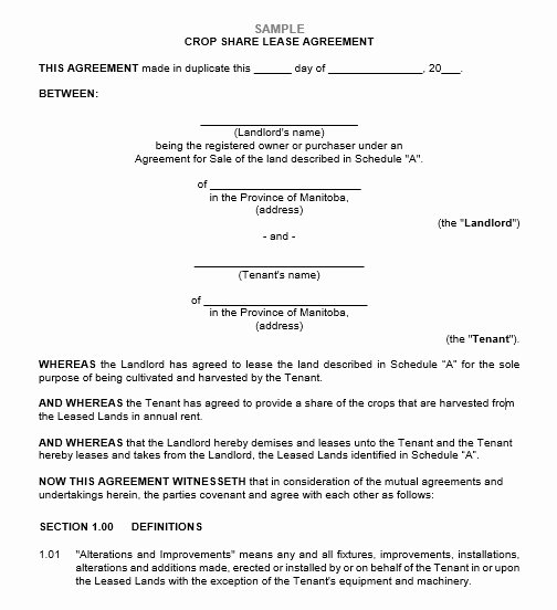 Land Lease Agreement Templates Best Of 12 Free Sample Professional Farm Land Lease Agreement