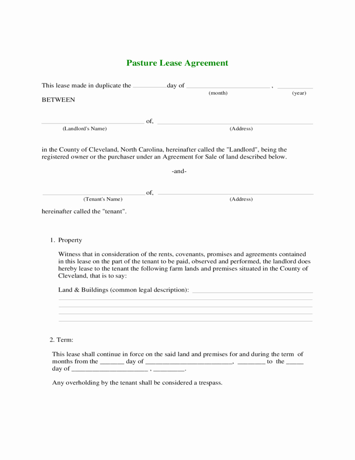 Land Lease Agreement Templates Best Of Farmland Rental and Lease form Free Download