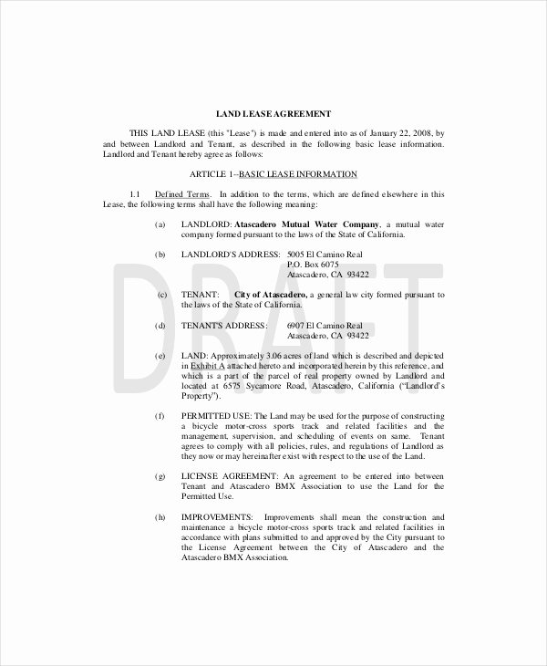 Land Lease Agreement Templates Elegant Land Lease Template 7 Free Word Pdf Documents Download