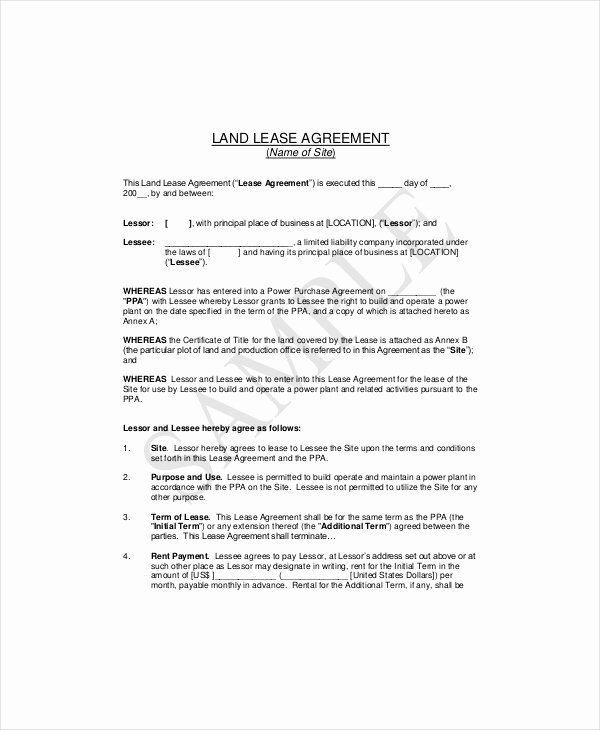 Land Lease Agreement Templates Fresh 7 Land Lease Templates Free Word Pdf format