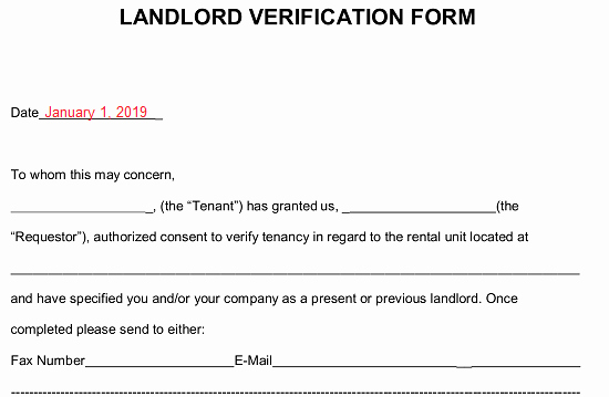 Landlord Verification form Template Awesome Free Rent Landlord Verification form Pdf