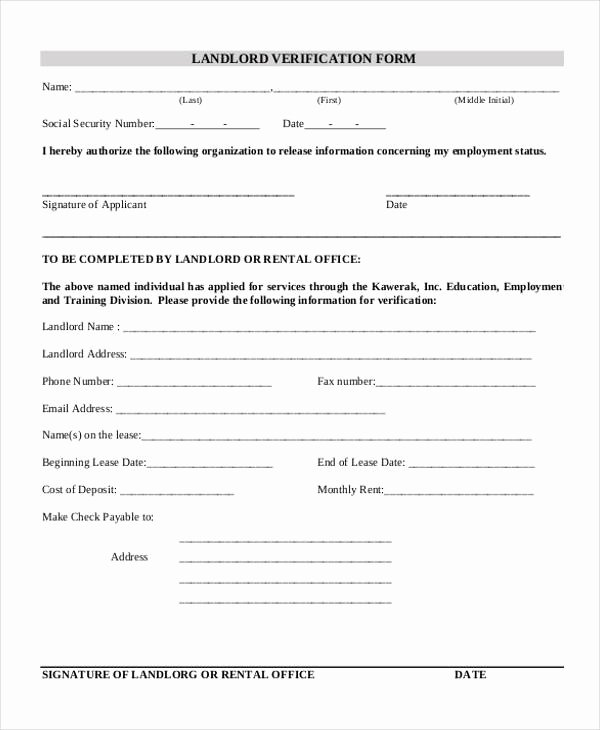 Landlord Verification form Template Best Of Verification form Templates