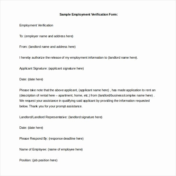 Landlord Verification form Template Elegant 11 Sample Employment Verification forms
