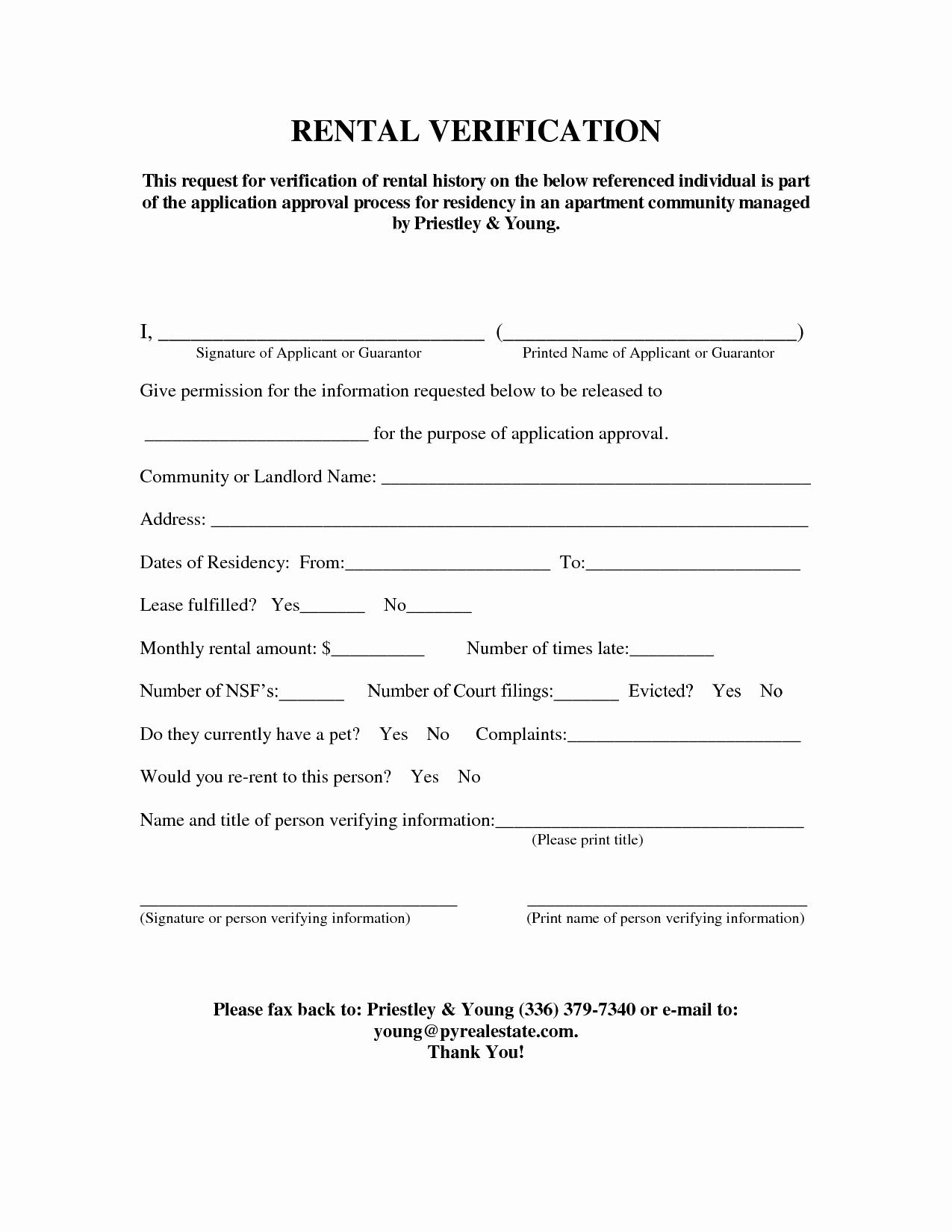Landlord Verification form Template Elegant Rental Verification form Rent Verification