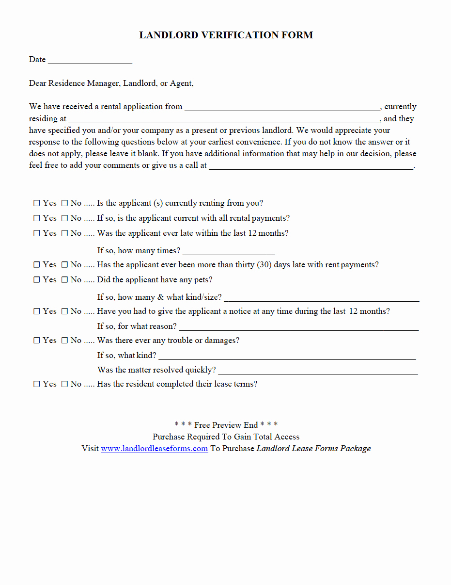 Landlord Verification form Template Elegant Residential Rental Lease Agreement Landlord Verification