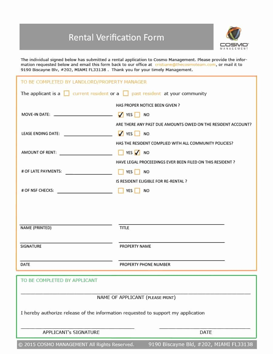 Landlord Verification form Template Luxury 29 Rental Verification forms for Landlord or Tenant