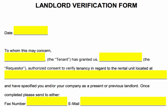 Landlord Verification form Template New Free Rent Landlord Verification form Pdf