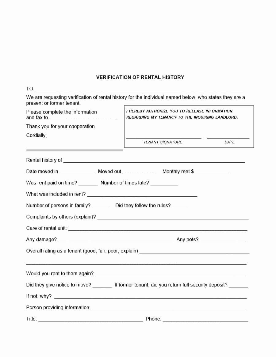Landlord Verification form Template Unique 29 Rental Verification forms for Landlord or Tenant