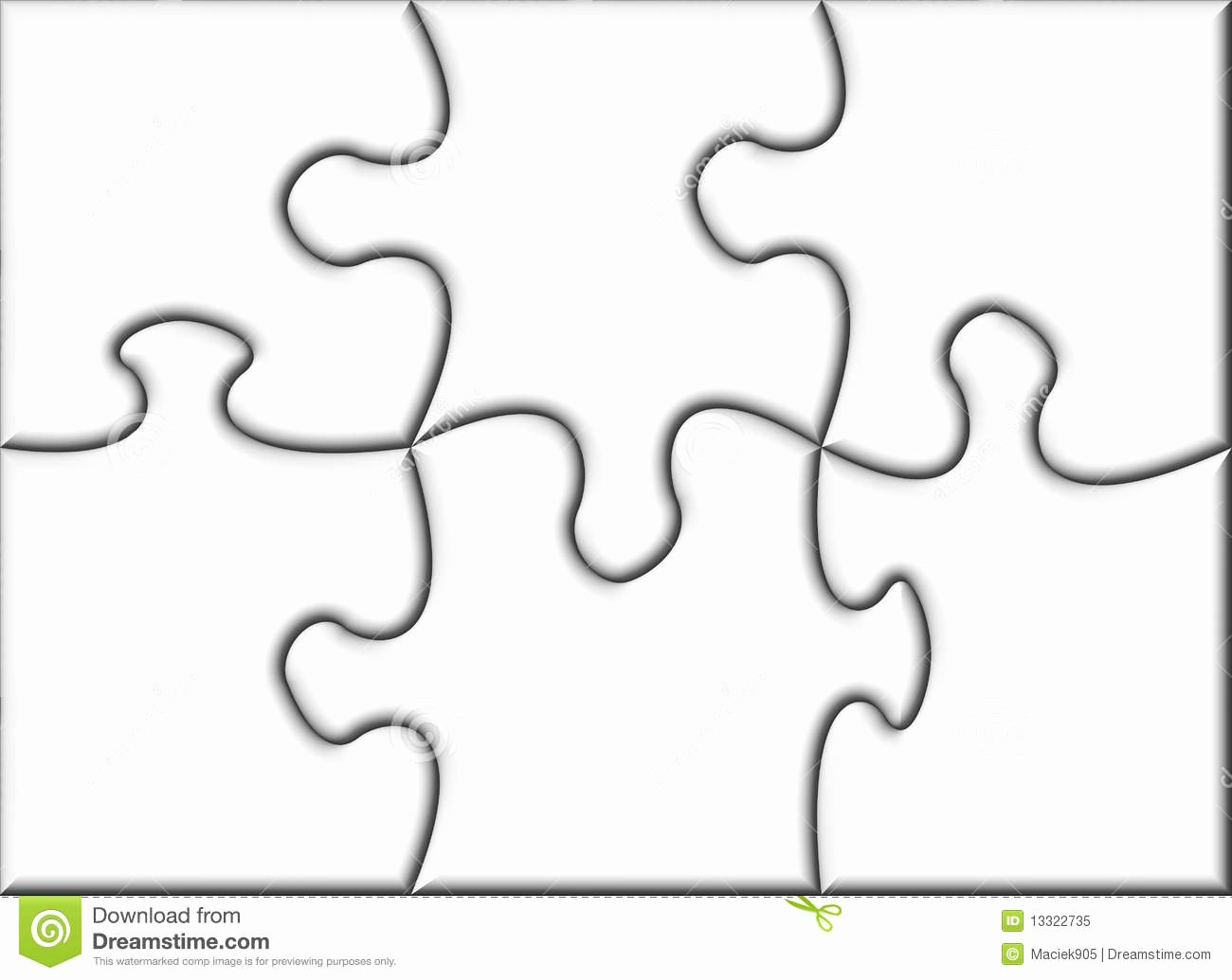 Large Puzzle Piece Template Lovely Beautiful Blank Transparent Jigsaw Puzzle Stock