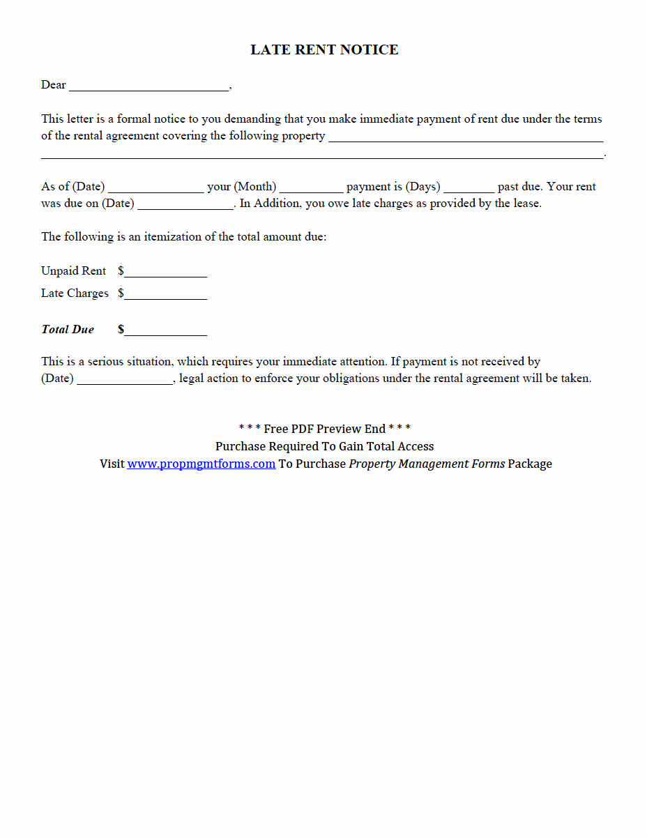 Late Rent Notice Template Luxury Property Management forms