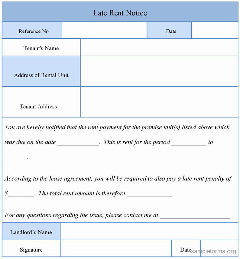 Late Rent Notice Template New Printable Sample Late Rent Notice form