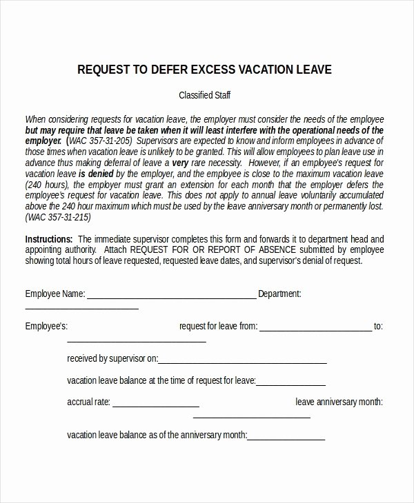 Leave Of Absence forms Template Elegant Leave Of Absence Letter Templates Vacation Sick