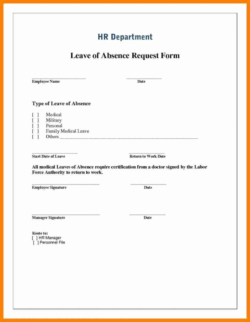 Leave Of Absence forms Template Fresh Leave Request form Template Printable Employment
