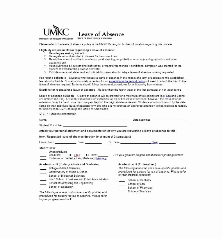 Leave Of Absence forms Template New 45 Free Leave Of Absence Letters and forms Template Lab