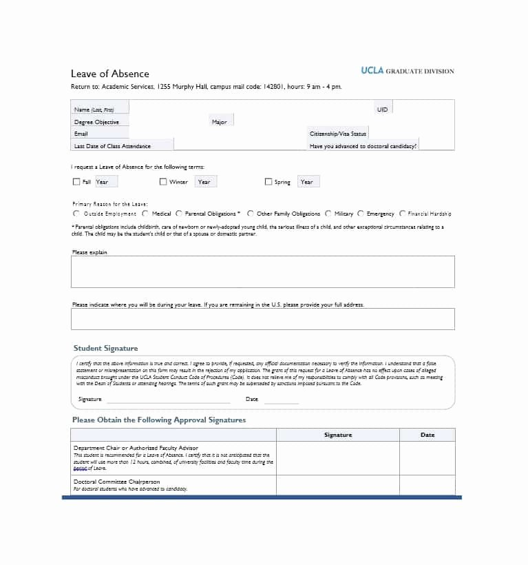 Leave Of Absence forms Template Unique 45 Free Leave Of Absence Letters and forms Template Lab