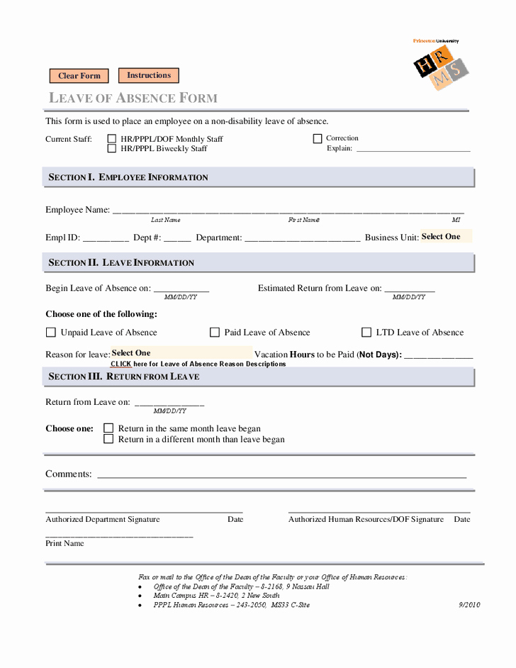Leave Of Absence forms Template Unique Leave Of Absence form Leave Of Absence form