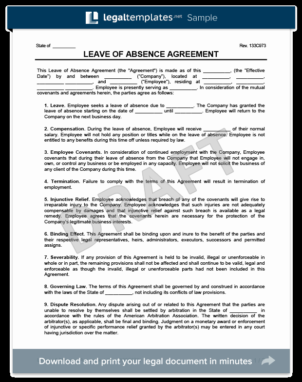 Leave Of Absence Templates Awesome Leave Of Absence Agreement Template