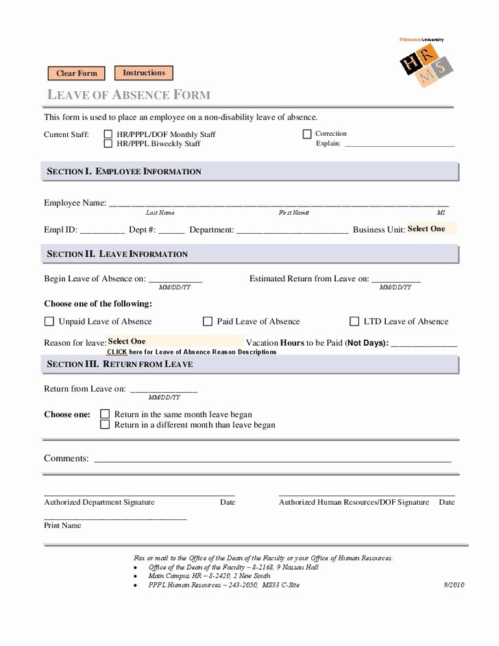 Leave Of Absence Templates Elegant Leave Of Absence form Leave Of Absence form