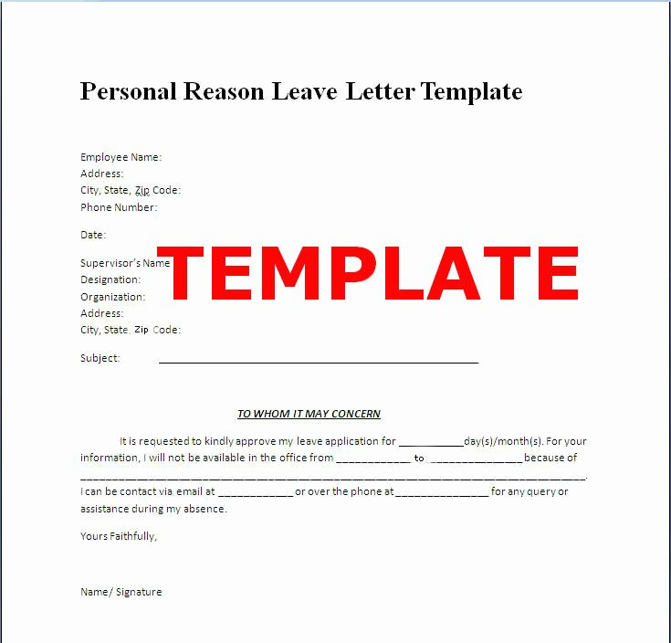 Leave Of Absence Templates Fresh Proper Personal Leave Absence Letter – Letter format
