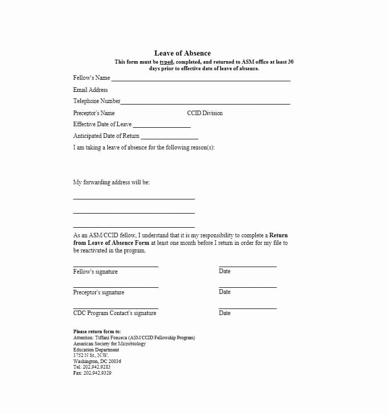 Leave Of Absence Templates Lovely 45 Free Leave Of Absence Letters and forms Template Lab