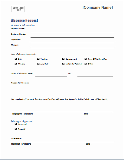 Leave Of Absence Templates Unique Employee Absence Request form Template for Word