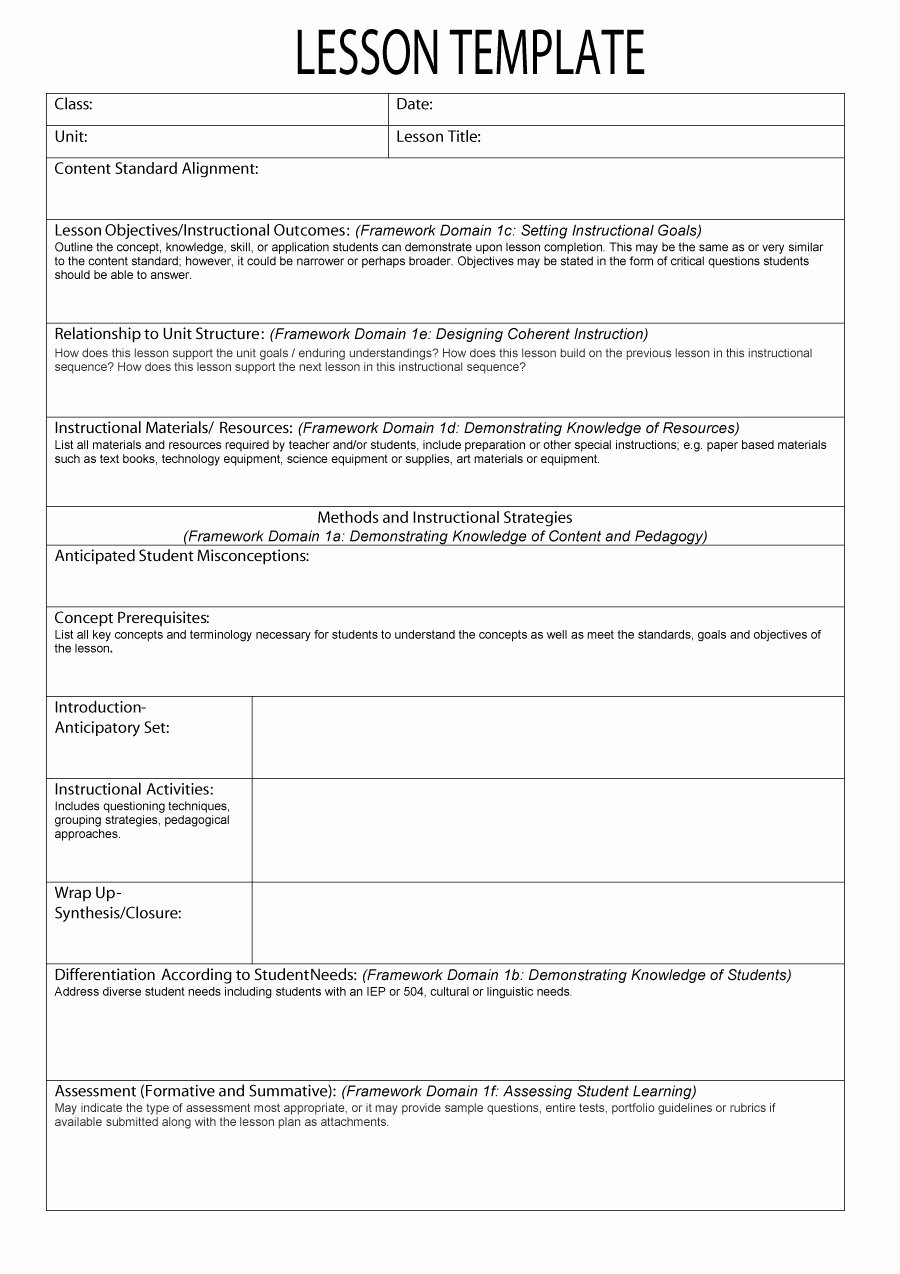 Lesson Plan Templates Kindergarten Beautiful 44 Free Lesson Plan Templates [ Mon Core Preschool Weekly]