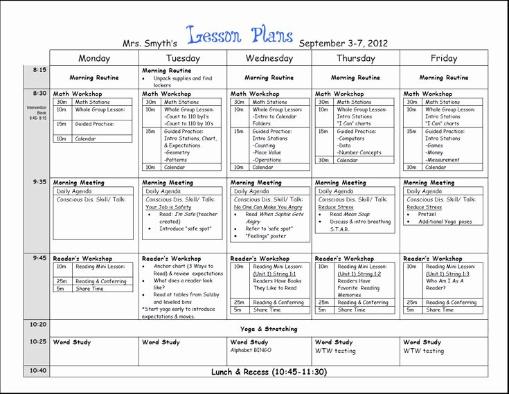 Lesson Plan Templates Kindergarten Elegant First Week Lesson Plans First Grade