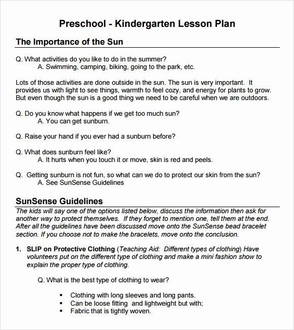 Lesson Plan Templates Kindergarten New Sample Preschool Lesson Plan 10 Pdf Word formats