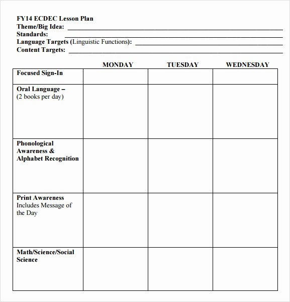 Lesson Plan Templates Kindergarten New Simple Lesson Plan Template