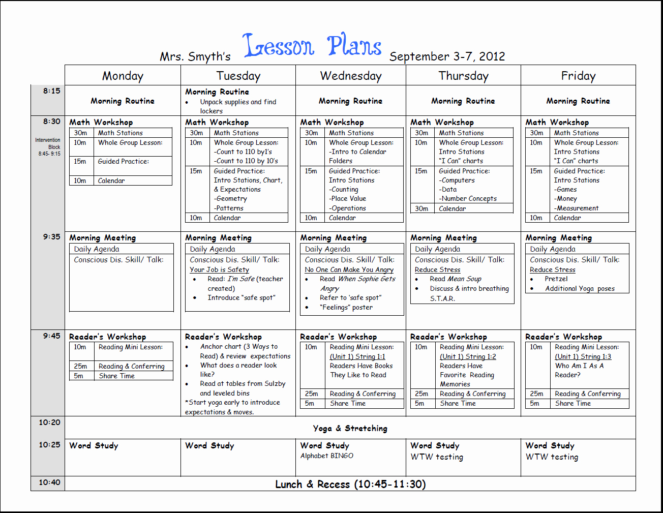 Lesson Plan Templates Kindergarten Unique Free Weekly Lesson Plan Template and Teacher Resources