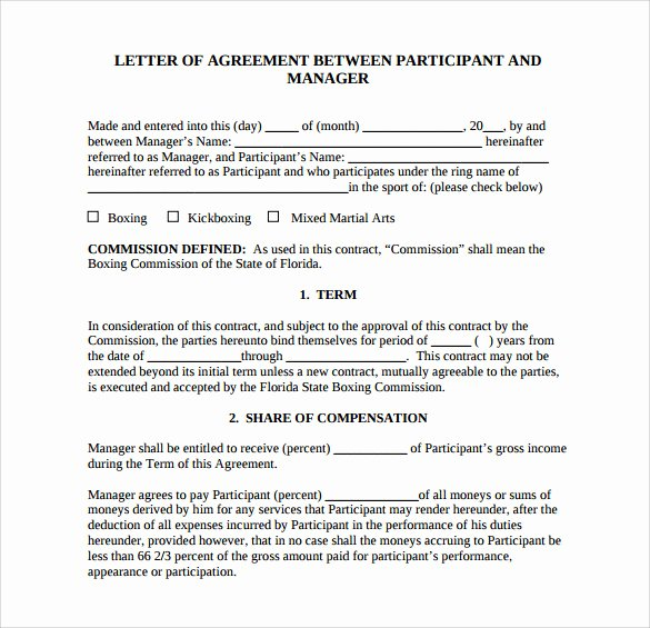 Letter Of Agreement Template Free Awesome Free 16 Letter Of Agreement Templates In Pdf