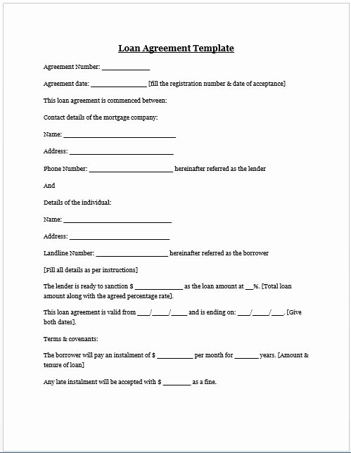 Letter Of Agreement Template Free Beautiful Loan Agreement Template