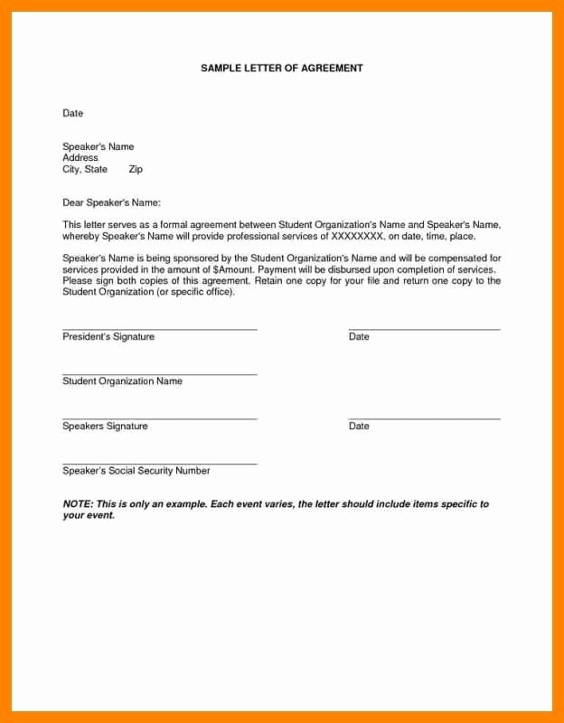 Letter Of Agreement Template Free Fresh Installment Payment Agreement Template Template