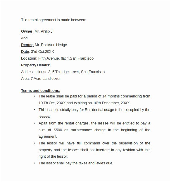 Letter Of Agreement Template Free Fresh Sample Rental Agreement Letter Template 8 Download Free