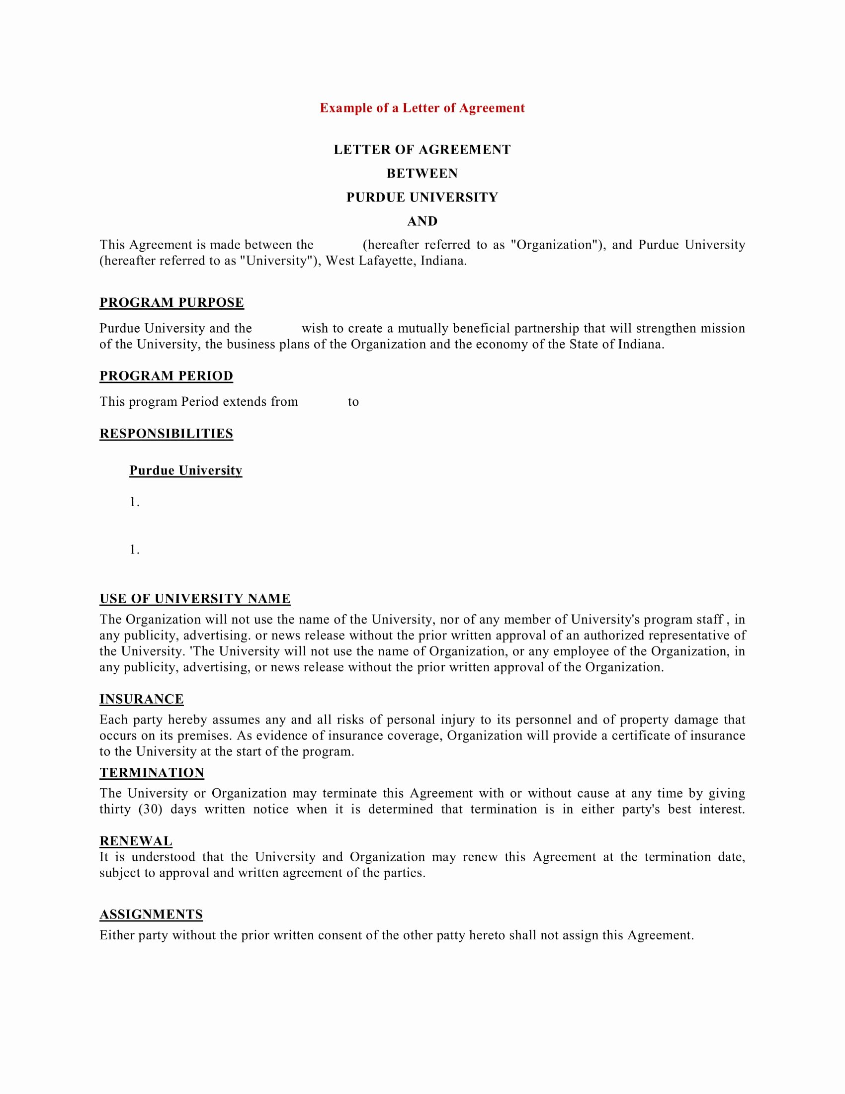 Letter Of Agreement Template Free Inspirational 9 Business Agreement Letter Examples Pdf Doc