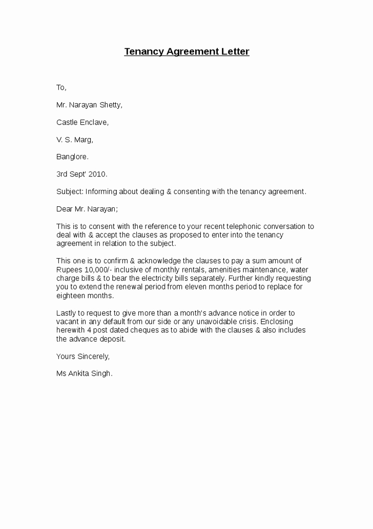 Letter Of Agreement Template Free Lovely Lease Agreement Letters