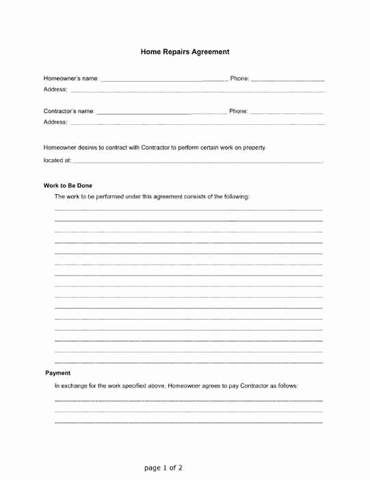 Letter Of Agreement Template Free Unique Home Repairs Agreement Between A Homeowner and A