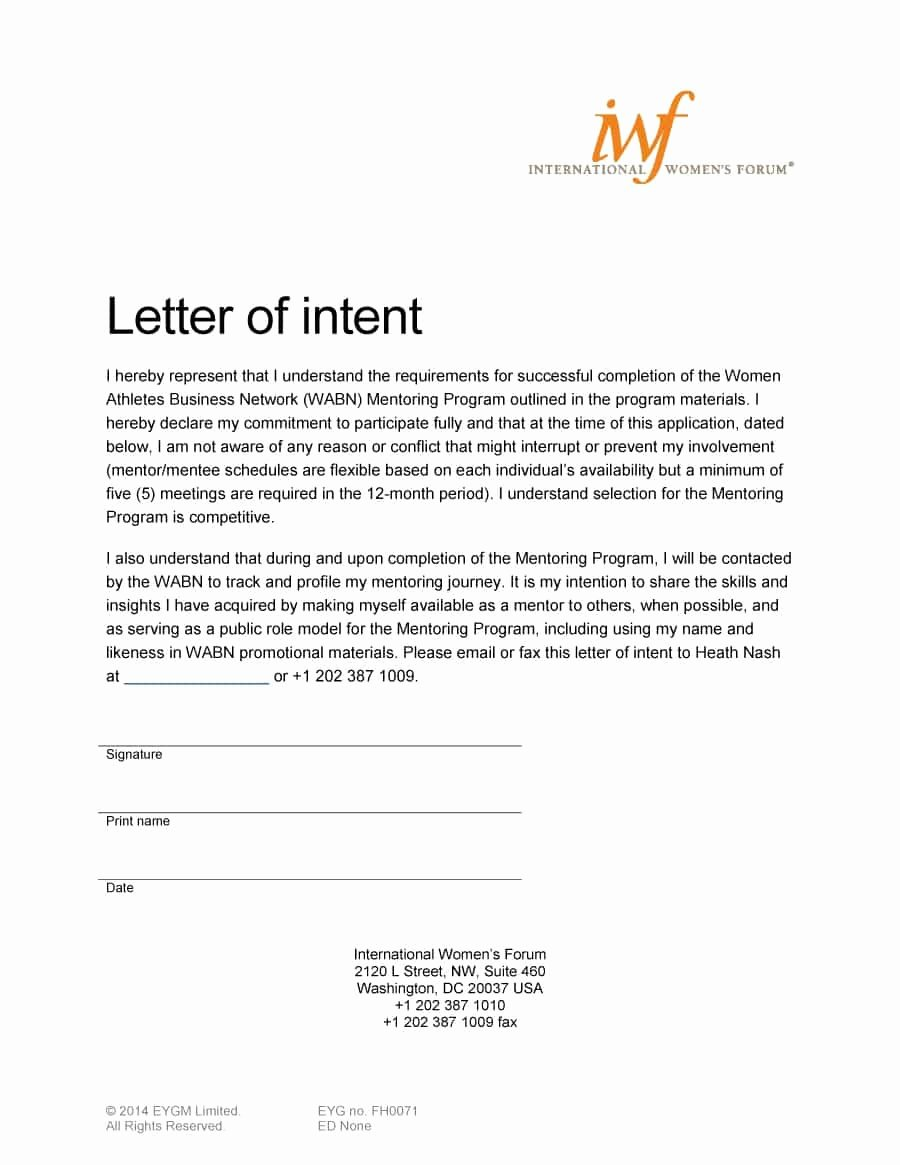 Letter Of Intent Template Inspirational 40 Letter Of Intent Templates & Samples [for Job School