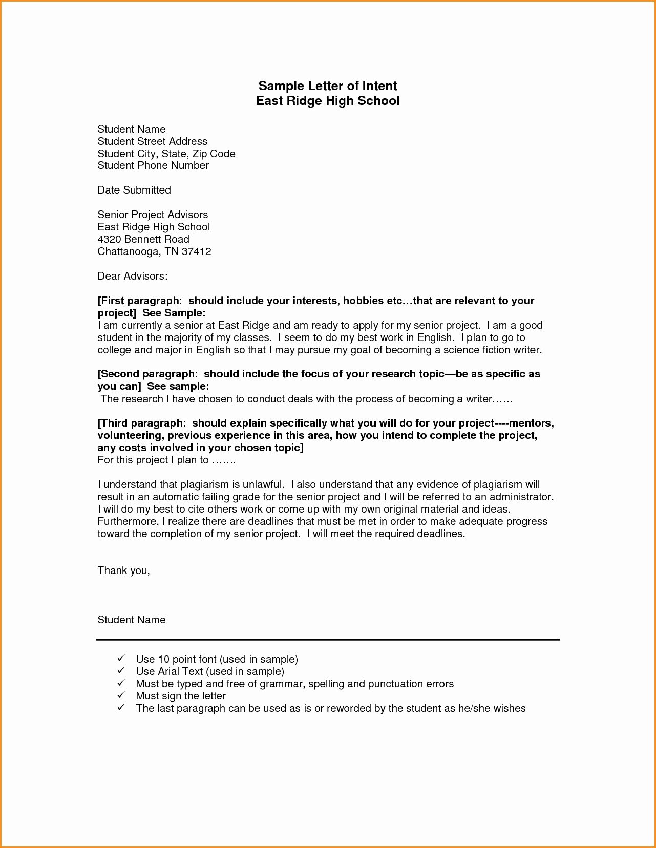 Letter Of Intent Template Luxury Homeschool Letter Intent Template Collection