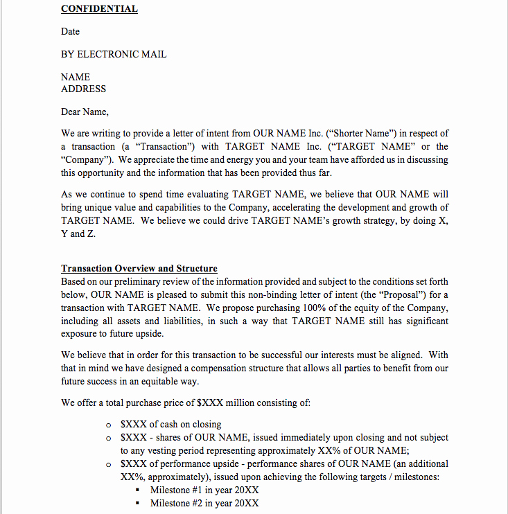 Letter Of Intent Template Luxury Letter Of Intent Template Free Loi Template From Cfi
