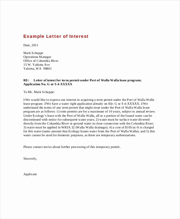 Letter Of Interest Template Free Best Of Letter Interest Example